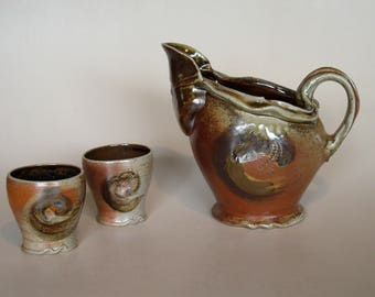 Pitcher and two cups. Wood fired Pottery. Wood Fired Pitcher and Two cups. Water Pitcher Set.