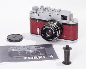 Unique Zorki 4 Refurbished USSR Leica Camera Red Bordo Body Industar 61 Lens Ready to shoot Warranty