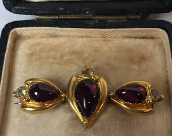 Victorian garnet and spinel brooch in original box