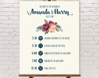 Wedding Timeline Sign / Wedding Itinerary Agenda, Icons / Peony Berry, Blush Pink Ranunculus ▷ Printable File {or} Printed & Shipped