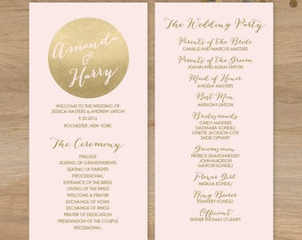 Blush and Gold Wedding Program / Metallic Gold and Blush / Bridal Party, Schedule of Events ▷ Printable File {or} Printed & Shipped