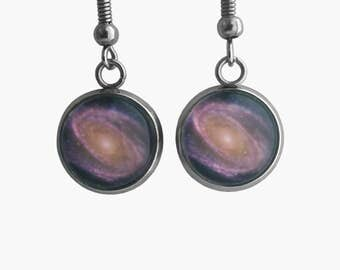 NASA Photograph Purple Galaxy Earrings