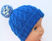 Royal Blue Knit Hat Baby Bobble Hat Blue Baby Hat New Baby Hat Winter Baby Hat Cable Hat Unisex Baby Hat Baby Clothing Warm Baby Hat