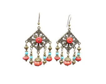 Nepal Red and blue stone earrings. Earrings candlesticks ethnic chic red and blue beads. Gypsy, boho,