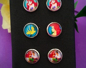 Disney The Little Mermaid Ariel Stud Earrings Set of 3 pairs. 10mm Diameter. Valentines Gift