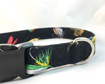 Fly fishing Dog Collar - Retirement Gift Collar - Dog Collar - Fishing Dog Collar - Dog Collar for Boys - Fisherman gift - Graphic  Collar