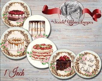 Cakes, Dessert, PATISSERIE VINTAGE WATERCOLOR - French Bakery images digital collage sheet, cupcake toppers, stickers, gift tags, magnets