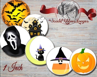 Halloween Clip Art party Bottle Cap images -  15 - 1 in circles  - 600dpi, Collage Sheet, cupcake toppers, Gift Tags, BottleCaps