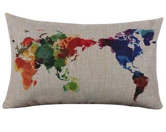 World Map Colourful Cute Pillow Cushion Cover Linen Cotton
