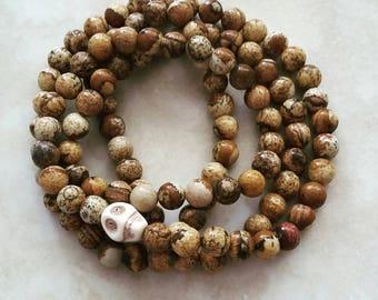 Jasper Wrist Mala 108 Beads White Turquoise Skull Elastic OOAK
