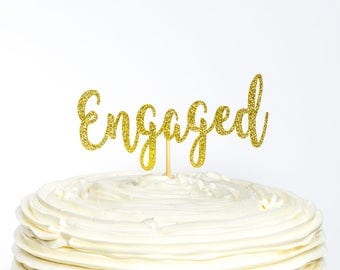 Engaged Cake Topper, Bridal Cake Topper, Engagement Cake Topper, Glitter Cake Topper, Bridal Shower Cake Topper, Engagement Party, Bride