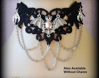 Black Lace Bat Choker Necklace, Black Gothic Vampire Bat Choker, Venetian Lace Collar, Goth Choker, Wiccan Choker Necklace, Venetian Lace