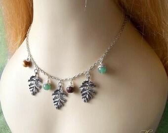 Oak Leaf Gemstone Necklace, Pagan Necklace, Elven Leaf Necklace, Woodland Necklace, Wiccan Necklace, Fairy Necklace, Jasper,Green Aventurine