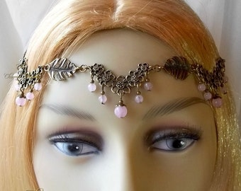 Rose Quartz Flower Circlet, Woodland Blossom Circlet, Pagan Flower Headdress, Bronze Flower Headpiece, Elven, Flower Fairy, Crown, Tiara