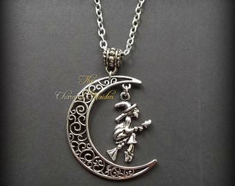 Flying Witch In Moon Necklace, Witch & Moon Pendant, Wicca Necklace, Wiccan Jewellery, Halloween Necklace, Silver Moon Necklace, Crone