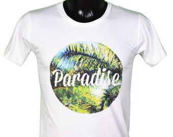 paradise t-shirt - surfing - tropical / / white color t-shirt - surfing - Hawaii - tropical paradise