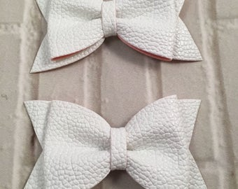 "White 3"" Mini Leather Hair Bow, Bow without Clips, DIY Hair Accessories, Leather Bow"