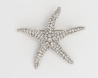 Starfish Brooch Rhinestone Starfish Crystal Brooch Beach Wedding Bridal Accessories Sash Pin Starfish Brooch