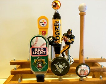 Pittsburgh Steelers Tap Handles-Pirates Beer Tap-Penguins Bar Tap-Terry Bradshaw-Roberto Clemente-Budweiser Football Beer Taps-Coors Light