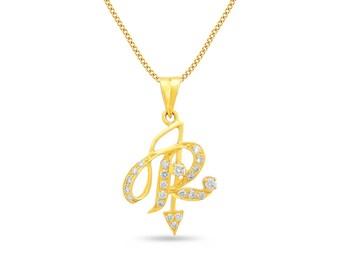 Diamond Initial Pendant, Diamond Letter 'R' Pendant, Diamond Alphabet 'R' Pendant in 18K Gold, Initial R Pendant in Gold, 18K Gold Pendant