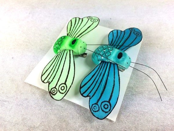 2 Fake Bees Artificial Blue Bee Green Scrapbooking Craft