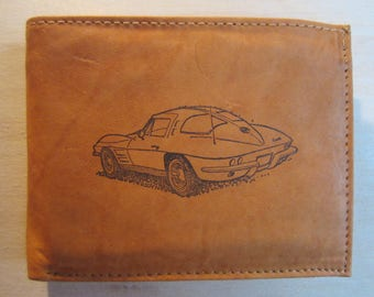 """Mankind Wallets Men's Leather RFID Blocking Billfold w/ """"1963 Chevrolet Corvette Stingray"""" Image~Makes a Great Gift!"""