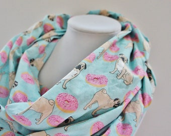 PUGS And DOUNUTS scarf, original gift, scarf for woman, coton scarf,  gift for teen, Christmas gift