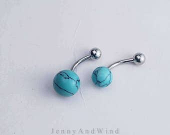 belly ring belly button ring belly jewelry turquoise simple base 14g