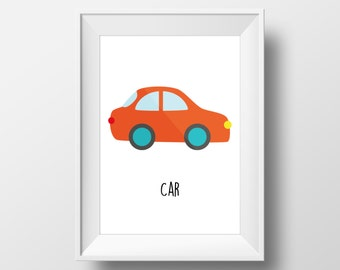 Car Children's Art Print, Nursery Decor, Baby's Nursery, Transportation, Kids Wall Art, Playroom Decor, Vehicle Art, Transport, Toddler Room