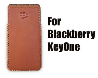 Blackberry KeyOne Handmade Leather Case with Built-in Holster No Belt Clip - Matte Brown