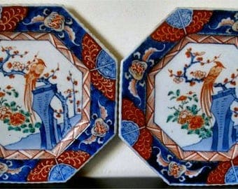 Pair of Exquisite Late 18th Century Japanese Imari Octagonal Plates Bird and Blossoms