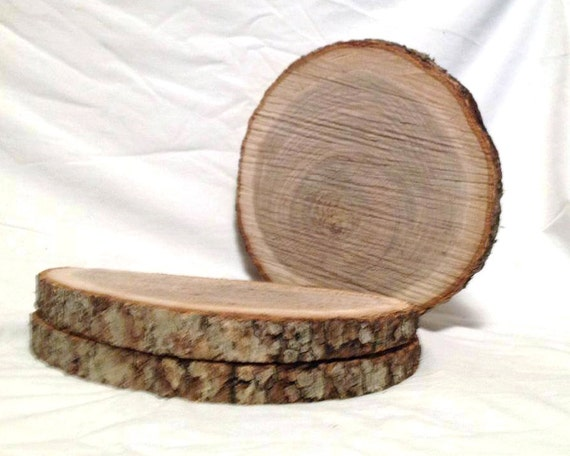 Oak Wood Centerpiece : Oak wood log slices to crafts rustic wedding cabin