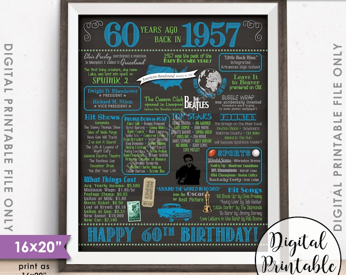 """60th Birthday Gift 1957 Poster, 16x20"""" Chalkboard Style Instant Download Printable File, Flashback 60 Years Ago USA Born in 1957 60th B-day"""