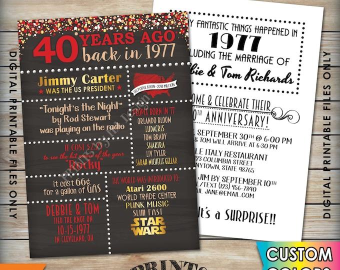 "40th Anniversary Invitation 1977 Invite, Married 40 Years Ago 1977 Wedding, Flashback 40 Years Invite, 5x7"" Chalkboard Style Printable Files"