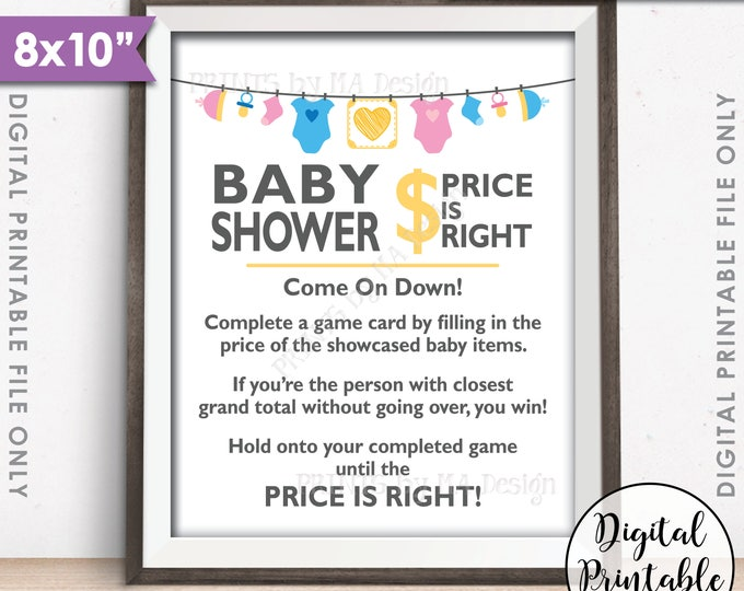 """Price is Right Baby Shower Game Sign, Guess the Prices Activity, Price Game Sign, Gender Neutral Shower, 8x10"""" Printable Instant Download"""