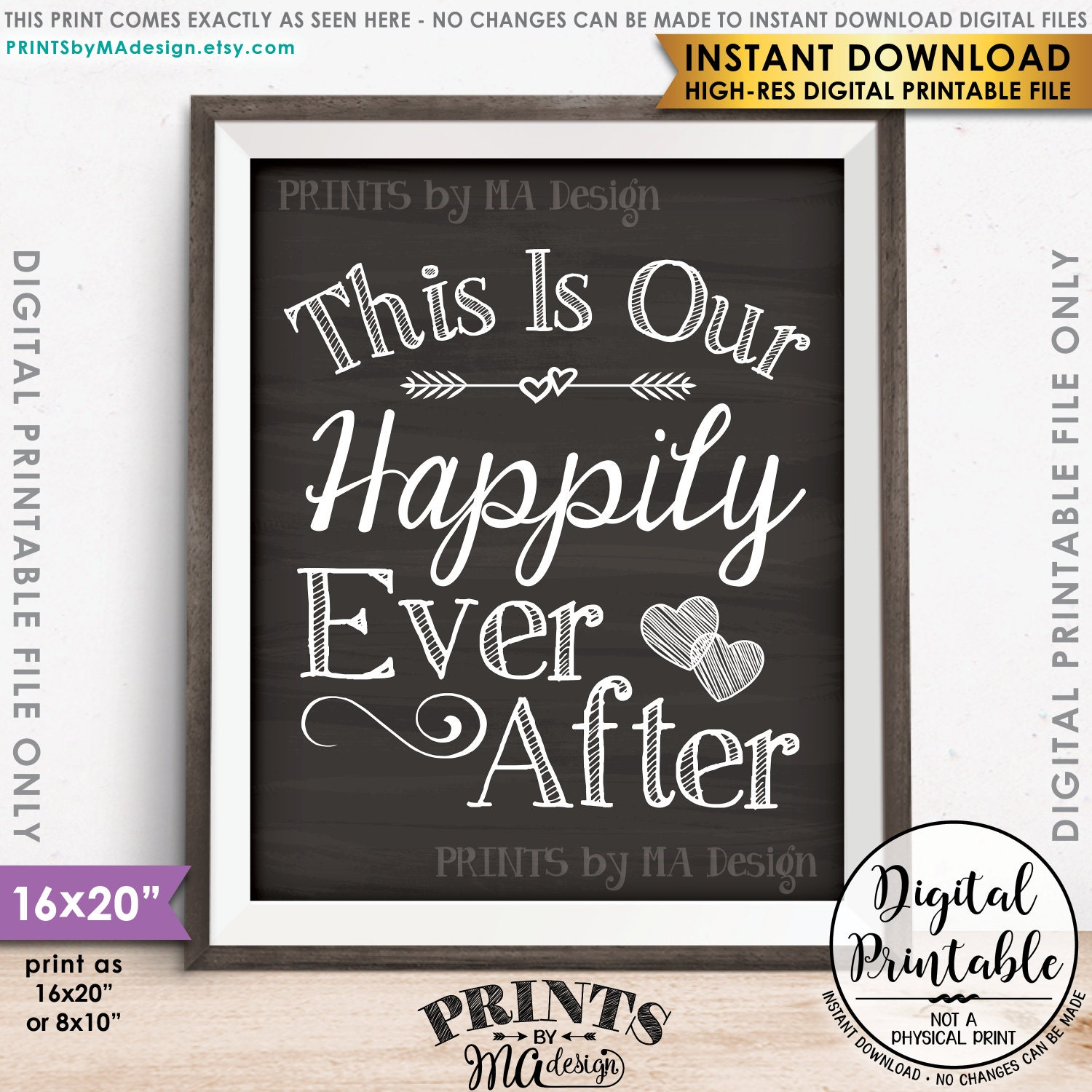 Design a 16x20 poster - This Is Our Happily Ever After Wedding Sign Reception Decor Wedding Poster Instant Download 8x10 16x20 Chalkboard Style Printable Sign