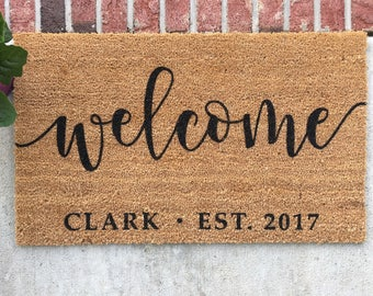Personalized Doormat // Hand-Painted Door Mat // Personalized Welcome Mat // Welcome Door Mat // Custom Welcome Mat // Custom Door Mat