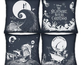 Disney Tim Burton's The Nightmare Before Christmas Black And White Pillow Set by The Bradford Exchange