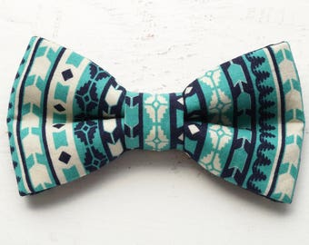 Teal Tribal Dog Bowties - Dog Bow Tie - Cat Bowtie - Gifts for Dogs - Gifts for Dog Lovers - Blue Dog Bow Tie - Dog Accessories - Dog Bows