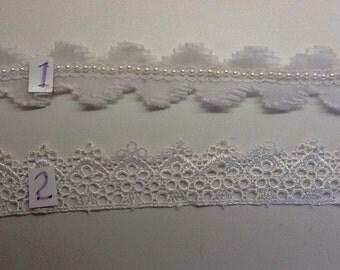 "Bridal Pearl Chiffon and Crocheted  1"" White Trim"