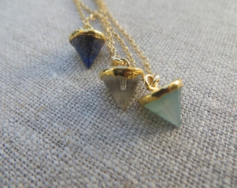 Lapis, Rock Crystal or Chalcedony Prism on Gold Chain