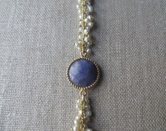 Pearl and Gold Fringe Bracelet with Kyanite