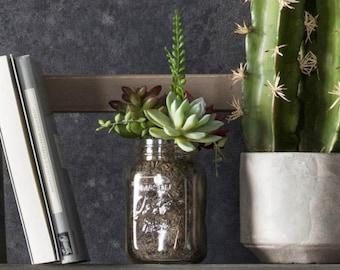 Mason jar planter with faux artifical succulents