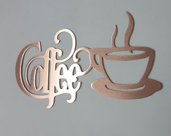 12 X 6 Bistro Coffee Sign With Mug Copper Metal Wall Decor Country