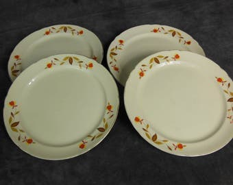 Reserved for Pam - Set of 4 Halls China 9 inch Dinner Plate, Autumn Leaf Pattern, Approved by Jewel, Vintage