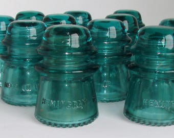 Hemingray Glass Insulators # 16 Size Beautiful in Great Shape