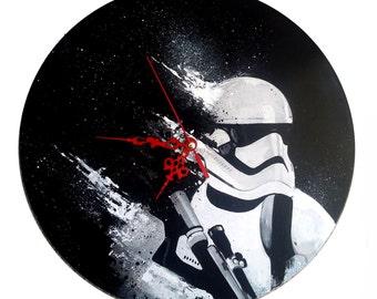 Star wars, space trooper, hand painted vinyl record clock