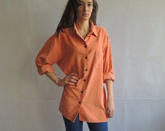 Vintage Orange Daisy Print Corduroy Long Sleeve Button Up Shirt