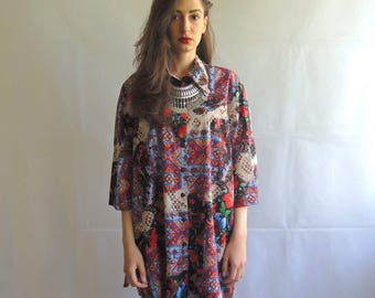 Vintage Oversized and Slouchy Floral Button Up Shirt / Dress