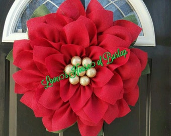 Poinsettia wreath, Christmas wreath, Christmas Flower wreath, Holiday wreath, Christmas decoration, Christmas decor, Burlap wreath